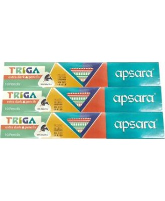 APSARA TRIGA EXTRA DARK PENCILS FREE SHARPENER WITH ERASER