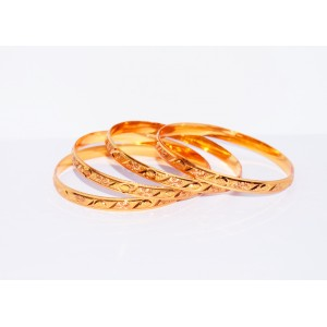 KR GOLD PLATED  FLOWER DESIGN & THIN 4 BANGLES OF 1 SET SIZE 2.4