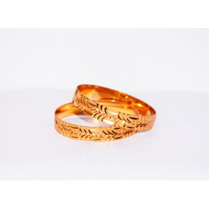 KR GOLD PLATED  FLOWER DESIGN & THICK 2 BANGLES OF 1 SET SIZE 2.4