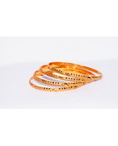 KR GOLD PLATED DIAMOND DESIGN & THIN 4 BANGLES OF 1 SET SIZE 2.8