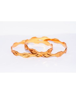 KR GOLD PLATED DAIMOND CUT DESIGN & THICK 2 BANGLES OF 1 SET SIZE 2.8