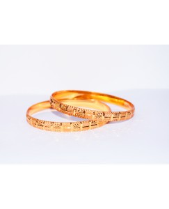 KR GOLD PLATED DOT CUT DESIGN & THICK 2 BANGLES OF 1 SET SIZE 2.8