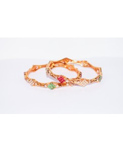 KR GOLD PLATED RAINYSTONE GREEN MEROON WITH WHITE COLOR & THICK 2 BANGLES OF 1 SET SIZE 2.6