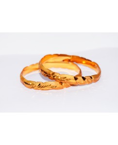KR GOLD PLATED ZIGZAG DESIGN & THICK 2 BANGLES OF 1 SET SIZE 2.4