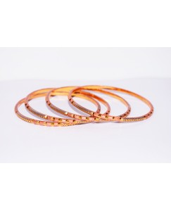 KR ROSE GOLD PLATED WITH PLATINUM COLOR AROUND DESIGN & THIN 4 BANGLES OF 1 SET SIZE 2.8